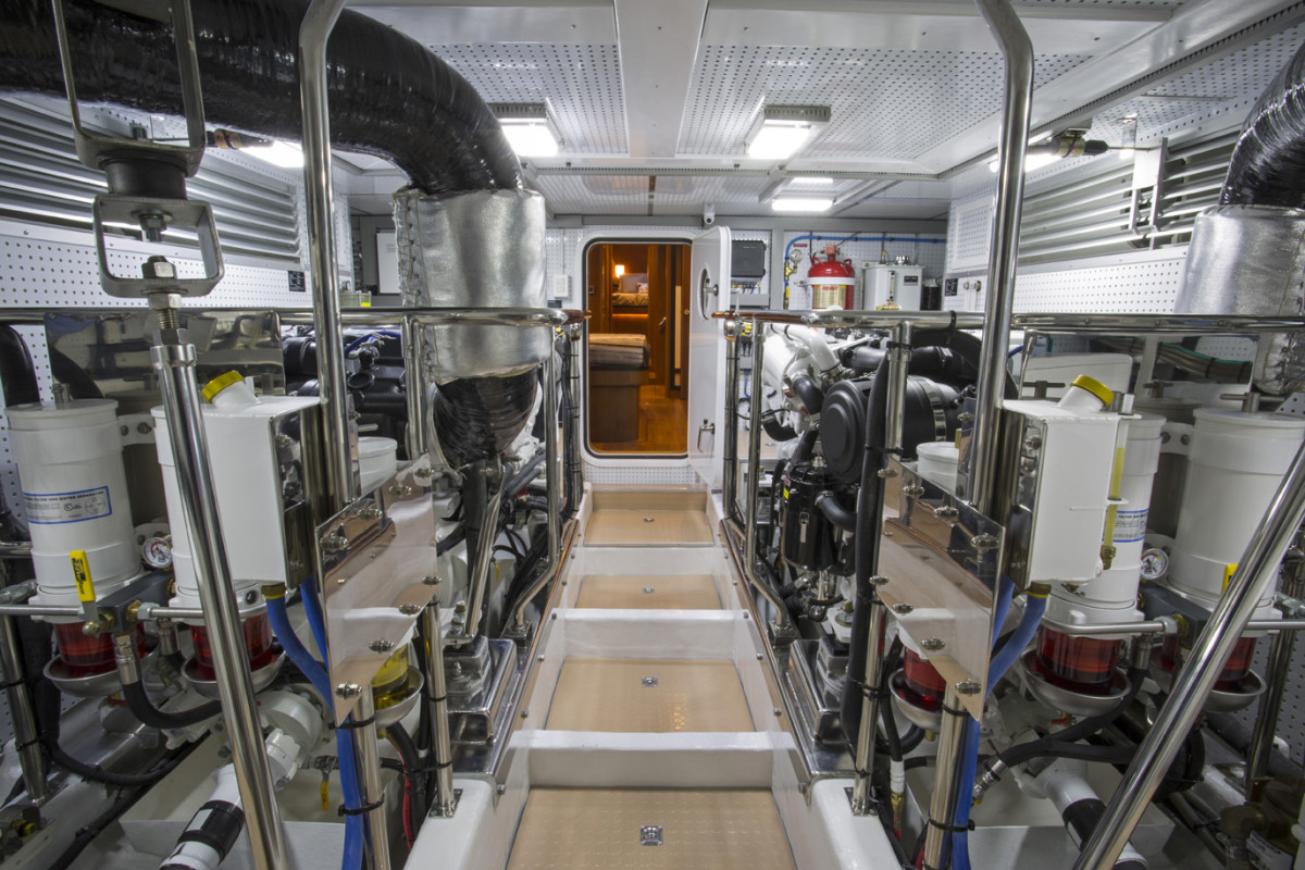 Twin engines grace the 580's clean and spacious engine room.