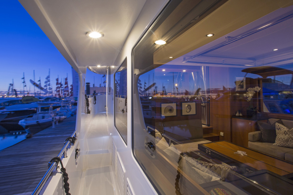 Sidedecks run down both the port and starboard sides allowing for easy walk around.