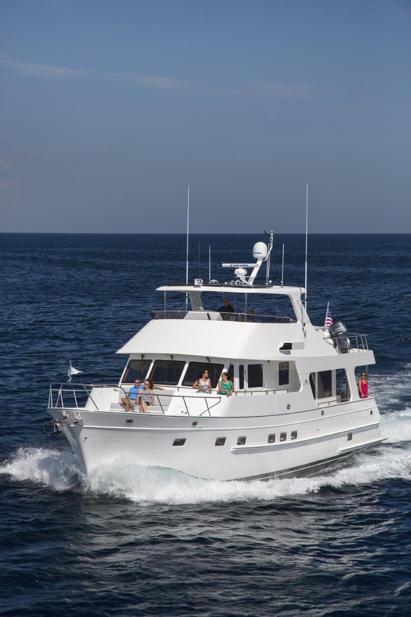 The classic workboat lines of the Outer Reef 580 Motoryacht are betrayed by luxurious onboard appointments and attention to detail.