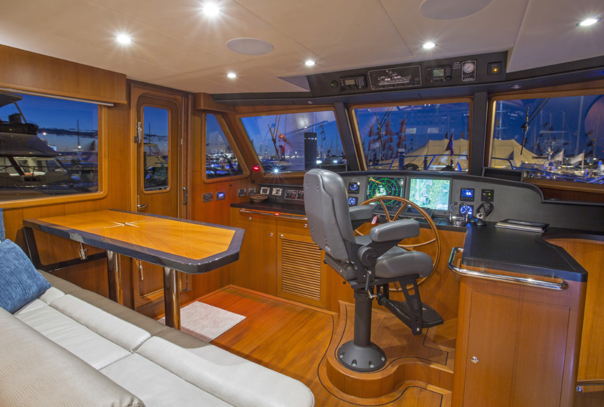 Visibility from the helm is only obstructed slightly to aft-starboard; all other viewing angles are clean, including the afterdeck.