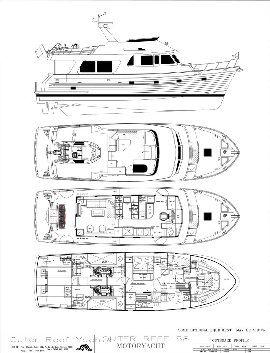 Outer Reef 580 Motoryacht Deck Plans